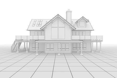 3D illustration of a large house in blueprint style