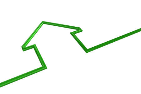 architecture logo: 3d illustration of a green house outline