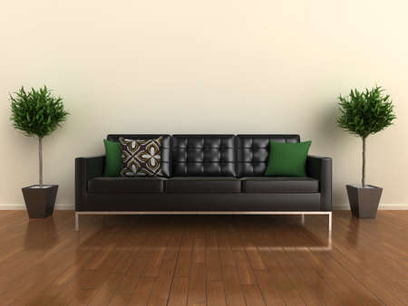 3d illustration of a classic sofa with cushions and plants either side. Stock Illustration - 5787172