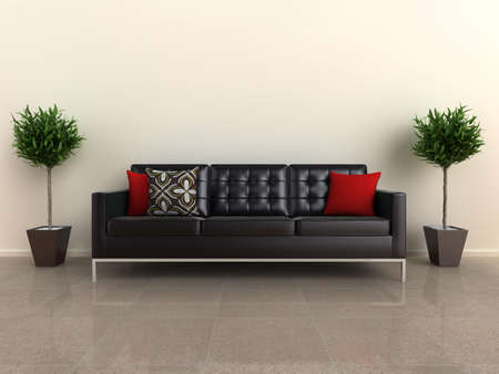 either: Illustration of a designer sofa, with plants either side, on a shiny stone floor.