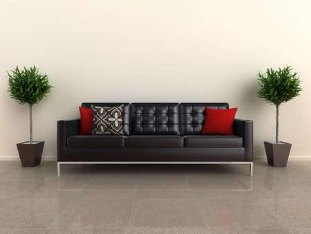 piso piedra: Ilustraci�n de un sof� dise�ador, con plantas, ya sea del lado, en un piso de piedra brillante.