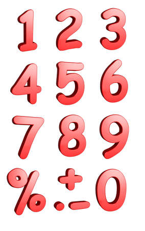 3d rendered numbers and symbols isolated on a white background photo