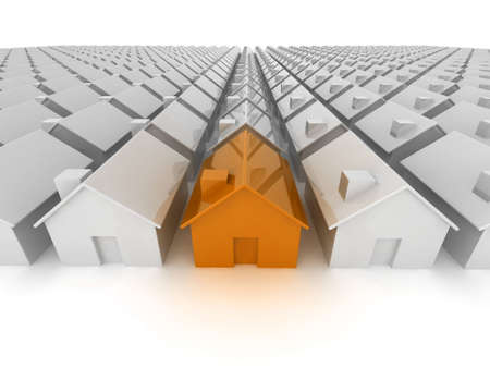 buying real estate: Orange house standing out from the crowd