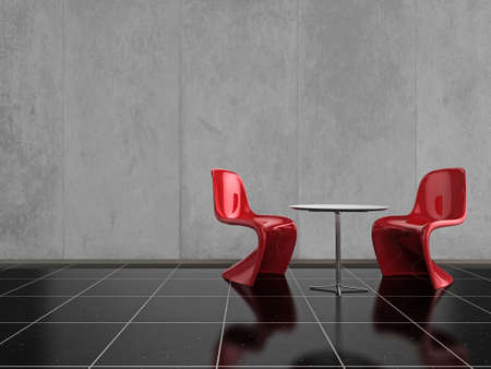 Modern red chairs on a shiny black stone floor
