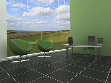 Modern, stylish office or reception area with green, natural background photo