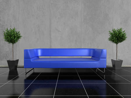 either: Modern blue sofa on a glossy black stone floor, with a plant either side