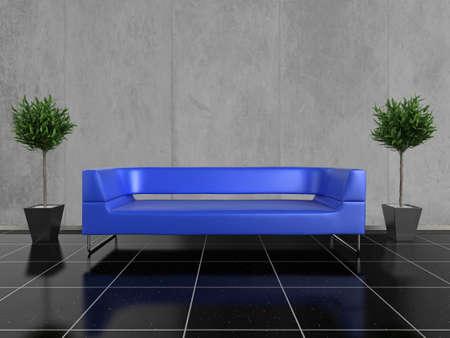 piso piedra: Planta moderna sof� azul sobre una piedra negra brillante, con una planta de ambos lados