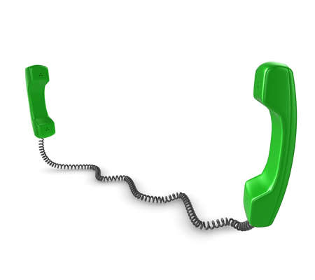 phone cord: Shiny green phone illustration with black cord, isolated on a white background.