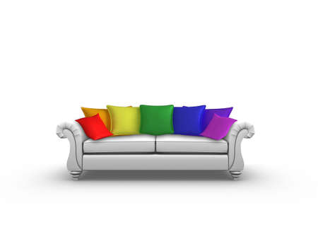 Illustration of a sofa with a rainbow of cushions illustration