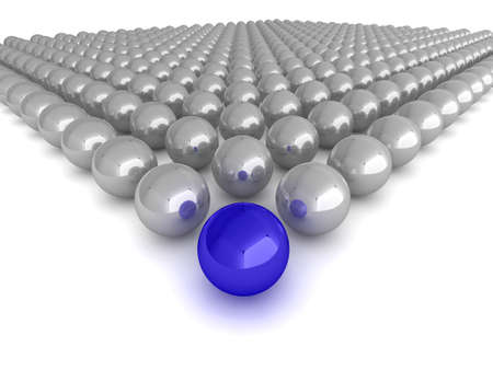 Abstract illustration of glossy spheres with a single blue leader, or winner in the centre. illustration