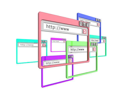 3d Illustration of internet browser windows, isolated on a white background.