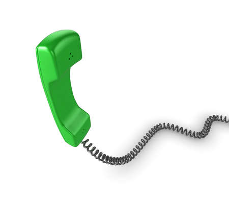 Shiny green phone illustration with black cord, isolated on a white background. illustration