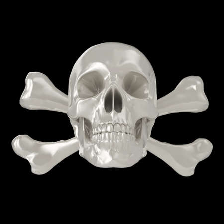 Shiny 3d Skull and Crossbones, isolated on a black background.