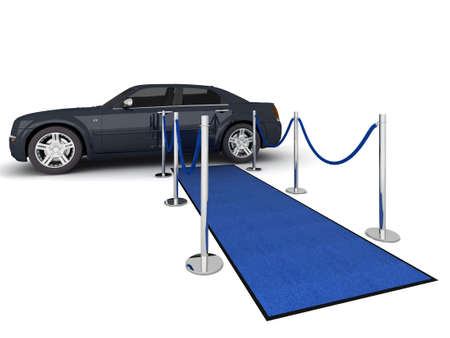 Illustration of a VIP carpet leading with waiting limousine. Isolated on white. Standard-Bild