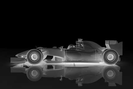 Illustration of a shiny racing car on a black background