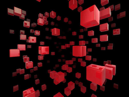 High quality illustration of a network of glossy red cubes reaching far into the distance Stock Illustration - 5864519