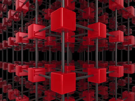 High quality illustration of a network of glossy red cubes, connected by a wire frame Stock Illustration - 5864516