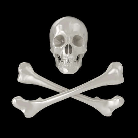 Shiny 3d Skull and Crossbones, isolated on a black background. photo