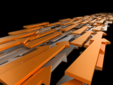 3d illustration of arrows travelling into the distance