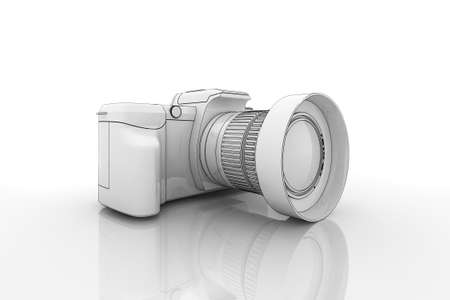 macro photography: Illustration of a dslr camera on a reflective surface Stock Photo