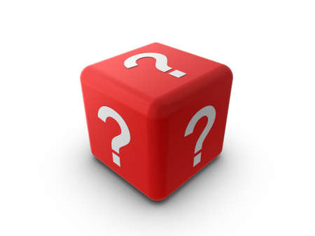 3d illustration of a red cube or dice, with a question mark symbol on each side. illustration
