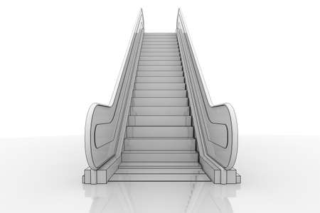 escalator: 3d Illustration of an escalator staircase on a reflective surface Stock Photo