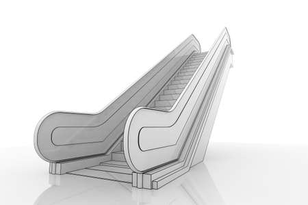 3d Illustration of an escalator staircase on a reflective surface Standard-Bild
