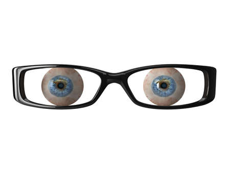 High quality illustration of detailed eyeballs behind a pair of glasses illustration