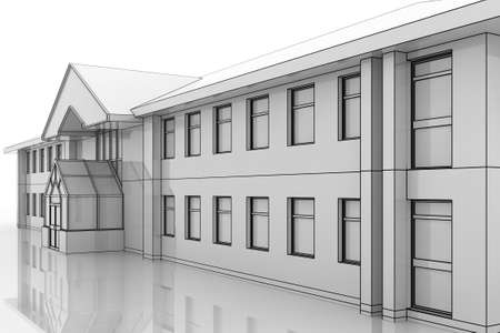 Illustration of a generic office building in a blueprint style illustration