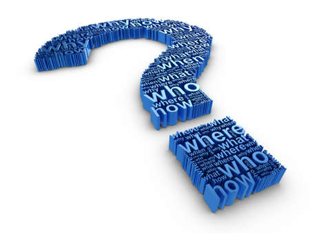 Blue 3d question mark made up of words on a white background