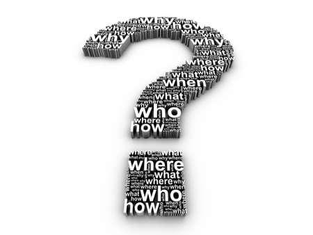 whose: 3D de signo de interrogaci�n, compuesta de palabras sobre un fondo blanco