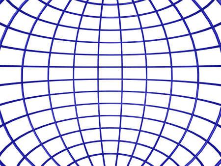 3d illustration of the inside of a shiny wireframe sphere Standard-Bild