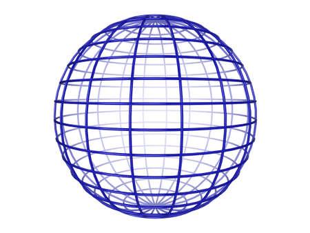 Illustration of a blue 3d wireframe sphere, on a white background Standard-Bild