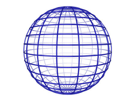 Illustration of a blue 3d wireframe sphere, on a white background illustration