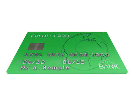 Realistic illustration of a green credit card with fictional details, isolated on a white background. illustration