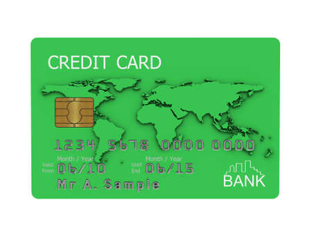 Realistic illustration of a green credit card with fictional details, isolated on a white background. Stock Illustration - 5884634
