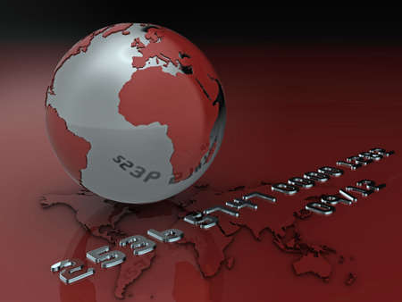 High quality illustration of a globe and credit card style text (fictional details) illustration