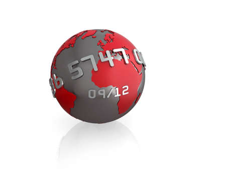 Illustration of a 3d globe, with credit card style text wrapping around, isolated on white with reflection. illustration