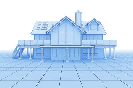 facade and house: 3D illustration of a large house in blueprint style