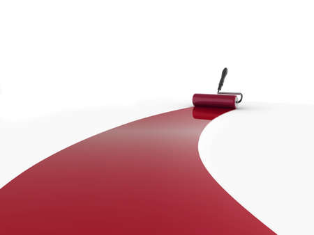 whitewash: Realistic illustration of a decorators paint roller painting a white surface