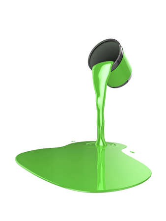 High quality illustration of a can of green gloss paint pouring onto the floor Stock Illustration - 5884629
