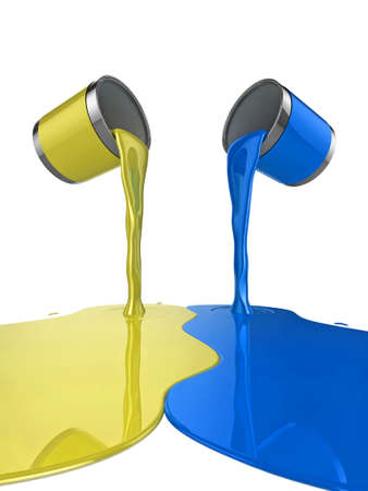 High quality illustration of a pair of paint cans pouring glossy paint onto the floor