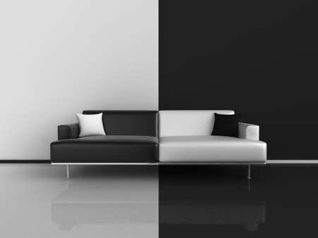 Classic sofa in black and white, on contrasting black and white floorwall Stock Photo