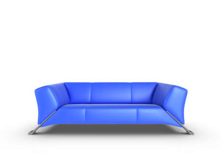 Blue 3d sofa, isolated on a white background photo