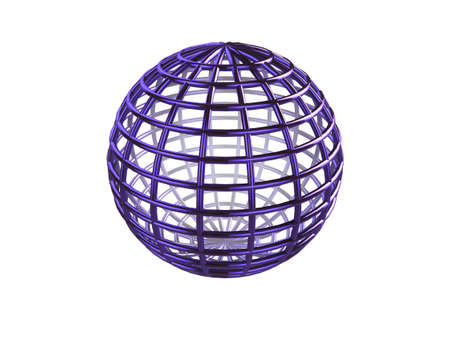 Shiny blue 3d wire-frame sphere on a white background photo
