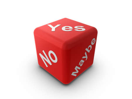 3d Illustration of a red cubedice with the words Yes, No, and Maybe illustration