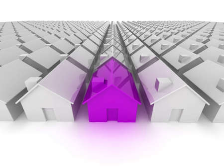 standing out: Purple house standing out from the crowd