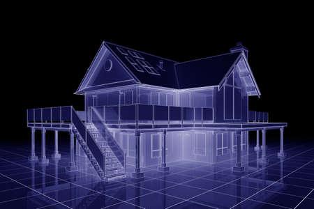 3D illustratie van een groot huis in blauwdruk stijl Stockfoto
