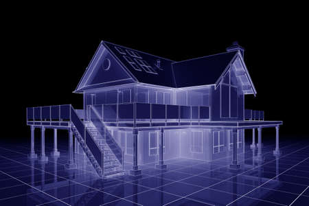 flat roof: 3D illustration of a large house in blueprint style