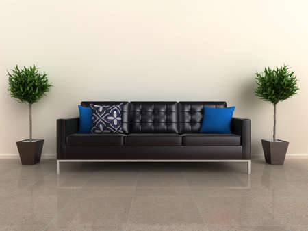 penthouse: Illustration of a designer sofa, with plants either side, on a shiny stone floor.